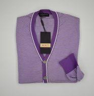 Male Cardigan Bramante Slim fit horizontal stripes pure cotton