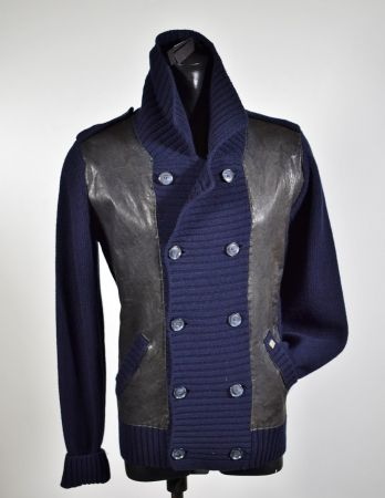 Slim Fit double breasted Cardigan jacket Daniele Fiesoli Blue