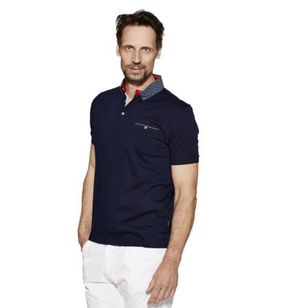 Polo bramante blu con collo camicia in puro cotone