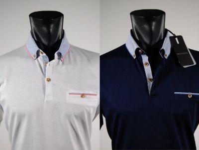 Polo bramante con collo camicia in due colori