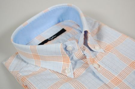 Camicia slim fit ingram collo button down a quadri