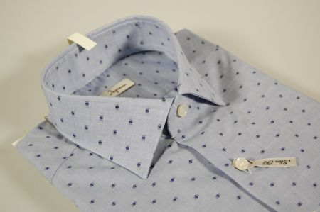 Camicia ingram azzurra disegno cravatta blu slim fit