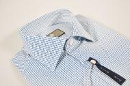Camicia slim fit micro disegno azzurro duca visconti