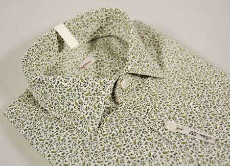 Camicia ingram slim fit stampa verde in cotone