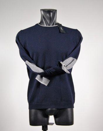 Maglione giro collo con toppe in lana libero diambra sei colori