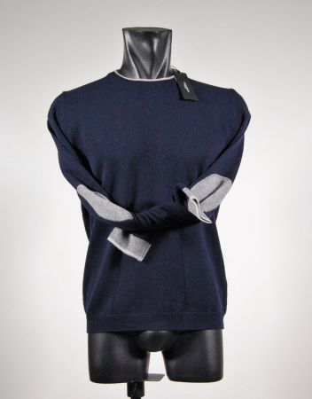 Round neck sweater with wool patches libero diambra six colors