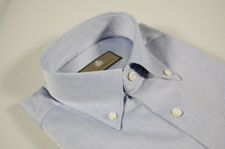 Camicia azzurra collo botton down duca visconti in puro cotone
