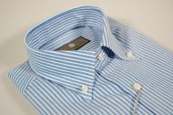 Blue shirt button down striped duca visconti