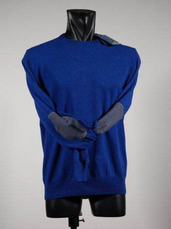 Maglione giro collo lana cashmere con toppe in quattro colori