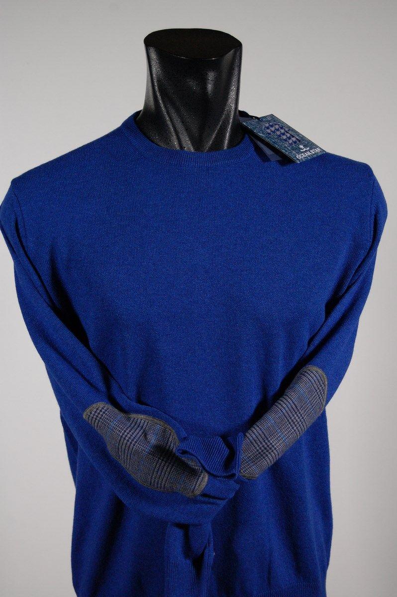 c929f44b1f Maglione uomo giro collo Ocean Star in lana cashmere con toppe in ...