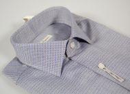 Camicia slim fit ingram collo piccolo moda micro disegno azzurro e beige