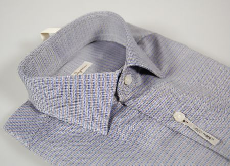 Ingram slim fit shirt small neck drawing fashion blue and beige
