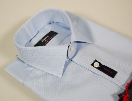 Ingram non-iron shirt in light blue oxford cotton