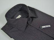 Camicia ingram slim fit micro disegno grigio nero e bordeaux