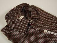 Camicia slim fit ingram fondo nero micro fantasia marrone grigio bordeaux