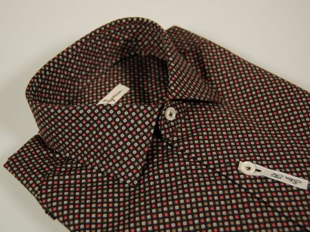 Camicia slim fit ingram fondo nero micro fantasia marrone grigio bordeaux
