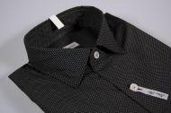 Camicia ingram slim fit nera micro fantasia collo piccolo moda