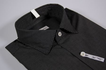Camicia ingram slim fit nera micro fantasia collo piccolo moda