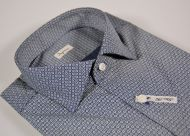 Blue patterned shirt slim fit cotton stretch drawing small ingram fashionable