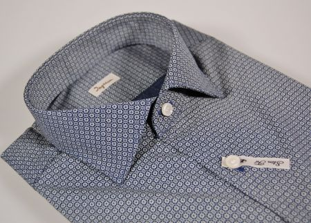 Camicia ingram slim fit cotone strech blu micro disegno