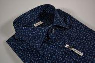 Camicia ingram slim fit in cotone stretch blu scuro a fantasia
