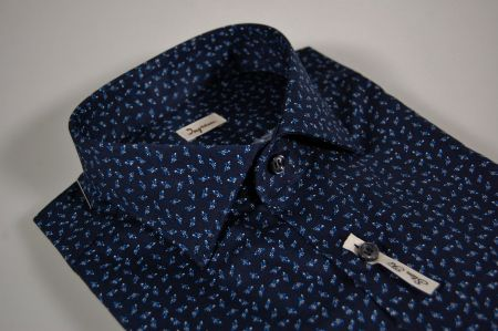 Dark blue stretch cotton slim fit shirt ingram fantasy