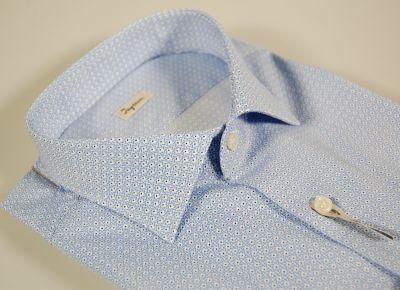 Camicia ingram slim fit cotone elasticizzato celeste fantasia piccola