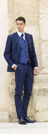 Slim blue gown groom musani Milan ceremony
