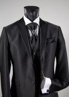 Abito da sposo nero slim fit completo di gilet cravatta e camicia musani milano