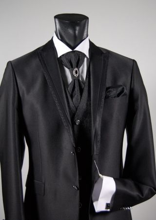 Black slim fit suit shirt tie and vest full musani milan