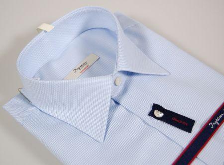 Camicia ingram no stiro celeste micro disegno vestibilità regolare
