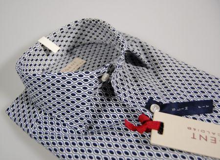 Regent by Pancaldi slim fit shirt blue patterned stretch