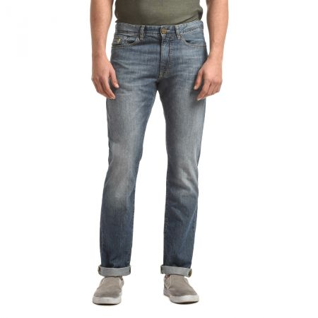 Light stone wash denim jeans 36 length mcs slim fit