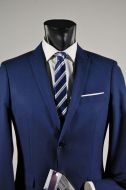 Navy blue suit slim fit stretch john barritt chest lapels