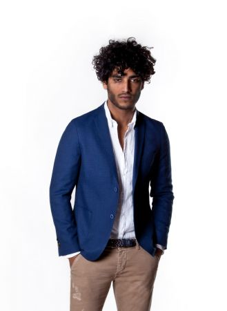 Micro fancy blue jacket john barritt linen cotton slim fit