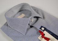 Camicia slim fit pancaldi micro fantasia blu in cotone stretch
