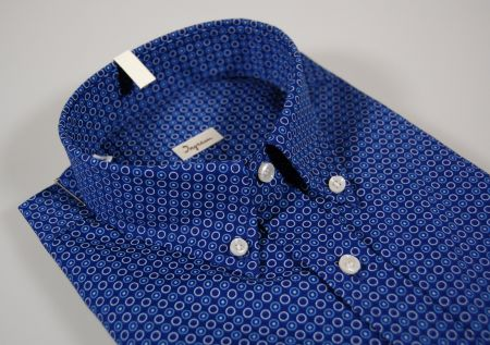 Camicia ingram button down blu a fantasia in puro cotone