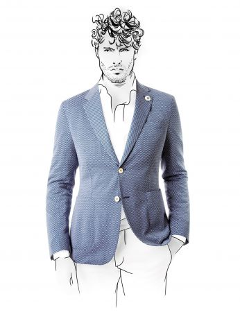 Slim fit jacket unlined cotton unlined micro sketch fradi blue