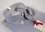 Camicia micro disegno blu collo button down in cotone elasticizzato