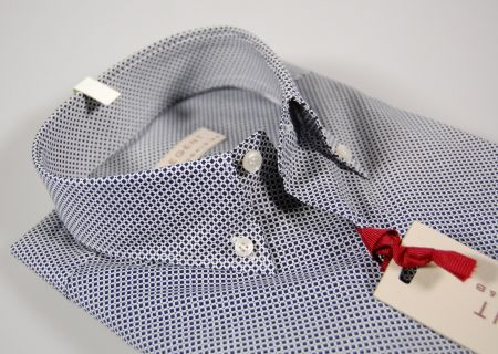 Blue cotton button down collar design shirt micro stretch