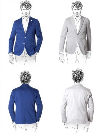 Printed cotton fradi stretch slim fit jacket unlined