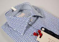 Camicia slim fit pancaldi cotone stretch fantasia azzurra