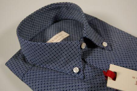 Camicia pancaldi maniche corte button down con taschino blu micro disegno
