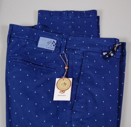 Pantalone fradi slim fit a pois cotone stretch in due colori