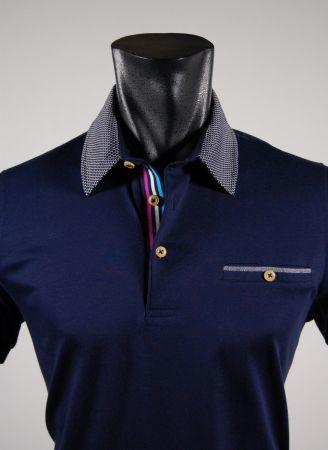 Slim fit short sleeve polo shirt collar bramante