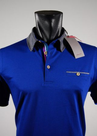 Slim fit short sleeve polo shirt collar bramante