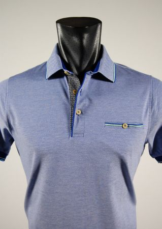 Bramante slim fit cotton polo shirt sleeves in three colors