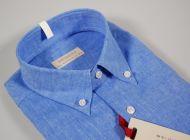 Camicia in lino e cotone button down con taschino