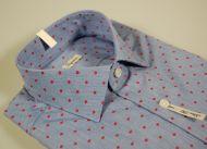 Camicia ingram slim fit azzurra con disegno rosso