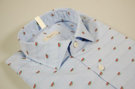 Camicia slim fit ingram celeste fil coupè con anguria